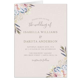 Carte Mariage floral d'aquarelle romantique élégante