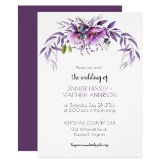 Carte Mariage floral | d'aquarelle violette mauve de