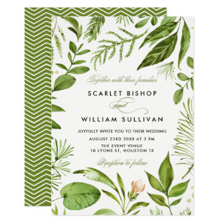 Carte Mariage floral de feuillage vert sauvage