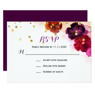 Carte Mariage floral de l'aquarelle marron RSVP de