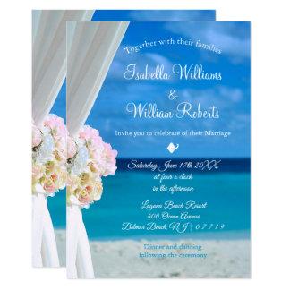 Carte Mariage floral élégant d'été de plage d'océan
