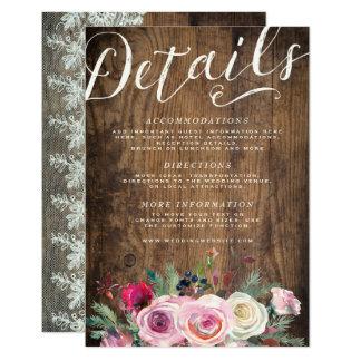 Carte Mariage floral en bois rustique de dentelle de la