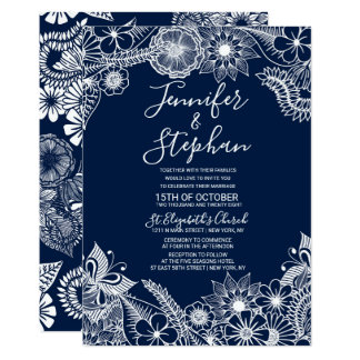 Carte Mariage floral illustratif blanc de bleu marine