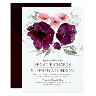 Carte Mariage floral pourpre d'aquarelle de guirlande de