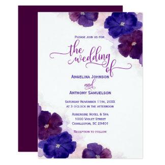 Carte Mariage floral pourpre de bleu royal de prune