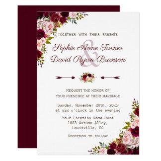 Carte Mariage floral rustique de Bourgogne Marsala
