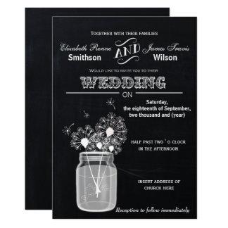 Carte Mariage floral vintage de pot de maçon de tableau