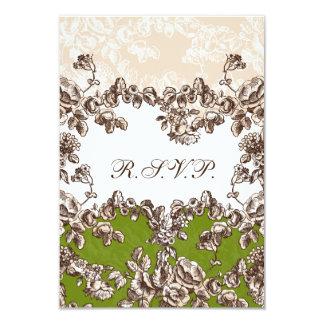 Carte Mariage floral vintage vert en ivoire chic