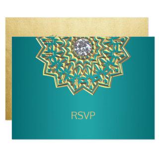 Carte Mariage indien du mandala RSVP d'or bleu turquoise