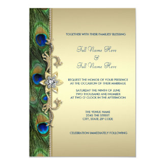 Carte Mariage indien royal vert de paon d'or vert