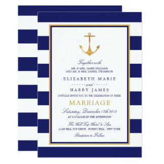 Carte Mariage nautique vintage d'ancre d'or