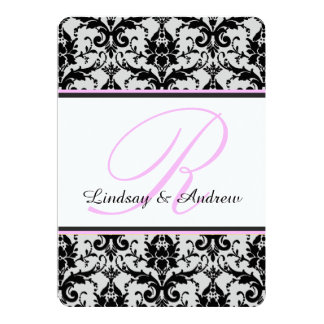 Carte Mariage noir de monogramme de rose de damassé