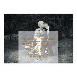 Carte Mariage noir et blanc de photo pure d'élégance