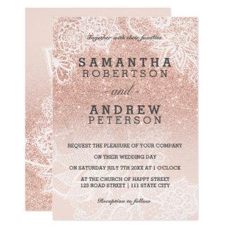 Carte Mariage rose de dentelle d'ombre de rose de