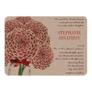 Carte Mariage rouge de fleur sauvage de pot de maçon de
