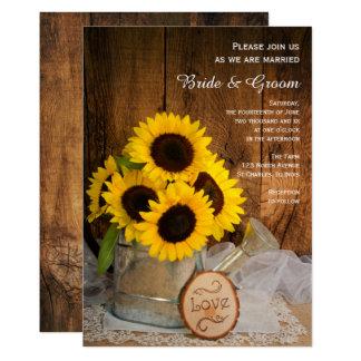 Carte Mariage rustique de boîte de tournesol et
