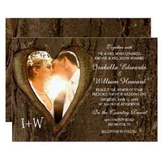 Carte Mariage rustique de coeur d'arbre avec votre photo