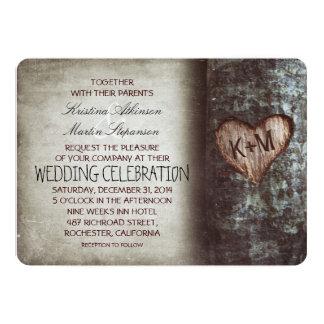 Carte Mariage rustique et vintage de coeur découpé par