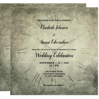 Carte Mariage rustique vintage de motif de manuscrit