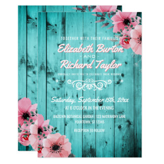 Carte Mariage turquoise floral rose en bois de Boho de