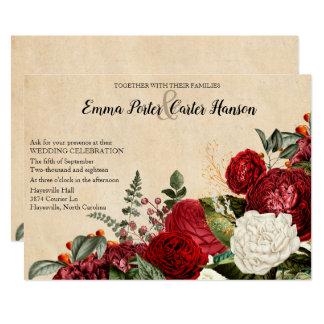Carte Mariage vintage de roses rouges et de feuille de