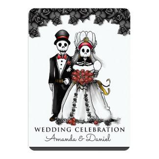 Carte Marié rouge de jeune mariée de squelettes de