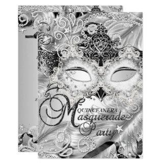 Carte Mascarade argentée Quinceanera de masque