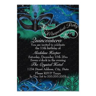 Carte Mascarade bleue et verte Quinceanera d'étincelle