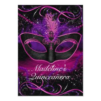 Carte Mascarade rose et pourpre Quinceanera d'étincelle
