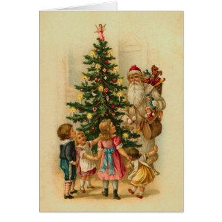 Carte Matin de Noël victorien des enfants
