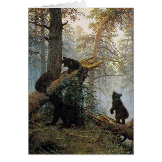 Carte Matin d'Ivan Shishkin dans une forêt de pin