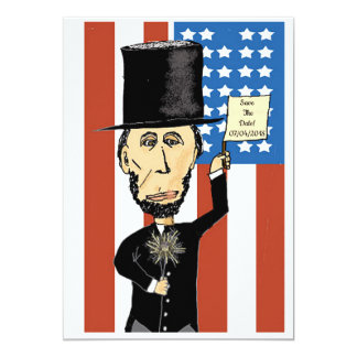 """Carte Matte 5"""" du Président Lincoln Save The Date x 7"""","""