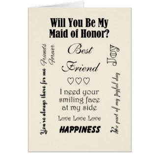 Carte Meilleur ami serez-vous ma domestique d'honneur ?