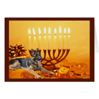 Carte Menorah1   de Chanukah de berger allemand