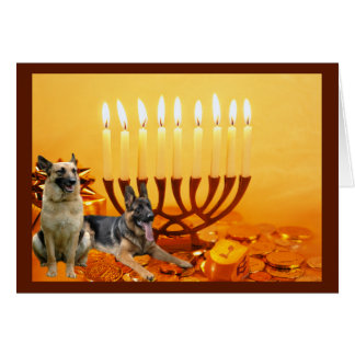 Carte Menorah2   de Chanukah de berger allemand