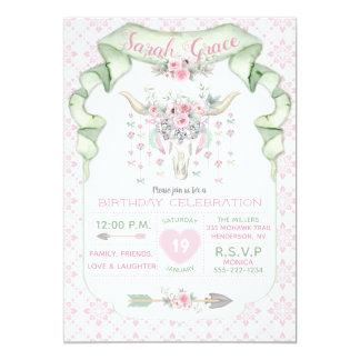Carte Menthe florale tribale de rose de flèches de
