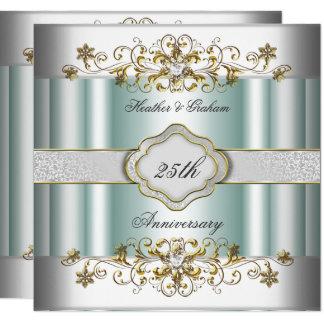 Carte Menthe turquoise argentée de bleu de 25ème