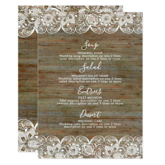 Carte Menu blanc en bois rustique de mariage de dentelle
