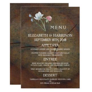 Carte Menu de mariage en bois de chêne de fleur sauvage
