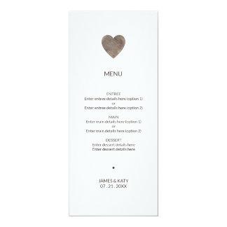 Carte Menu en bois rustique de mariage de coeur