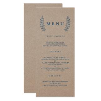 Carte Menu floral rustique de mariage de Papier
