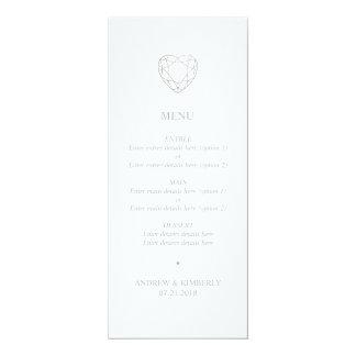 Carte Menu géométrique argenté de mariage de coeur