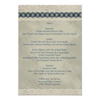 Carte Menu II de mariage de denim