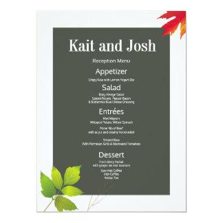 Carte Menu minimaliste de réception de mariage d'érable