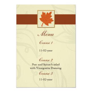 Carte menu orange de mariage de automne