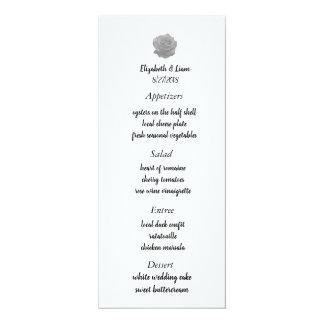 Carte Menu rose de mariage