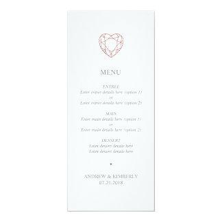 Carte Menu rose simple de mariage de coeur d'or
