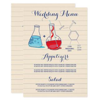 Carte Menu rouge et bleu de mariage de chimie