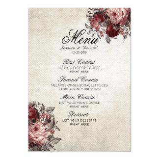 Carte Menu rustique vintage de mariage de fleur de roses