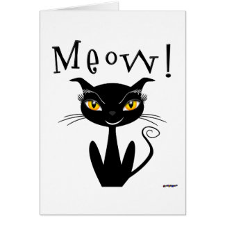 Carte Meow lunatique de chat noir !